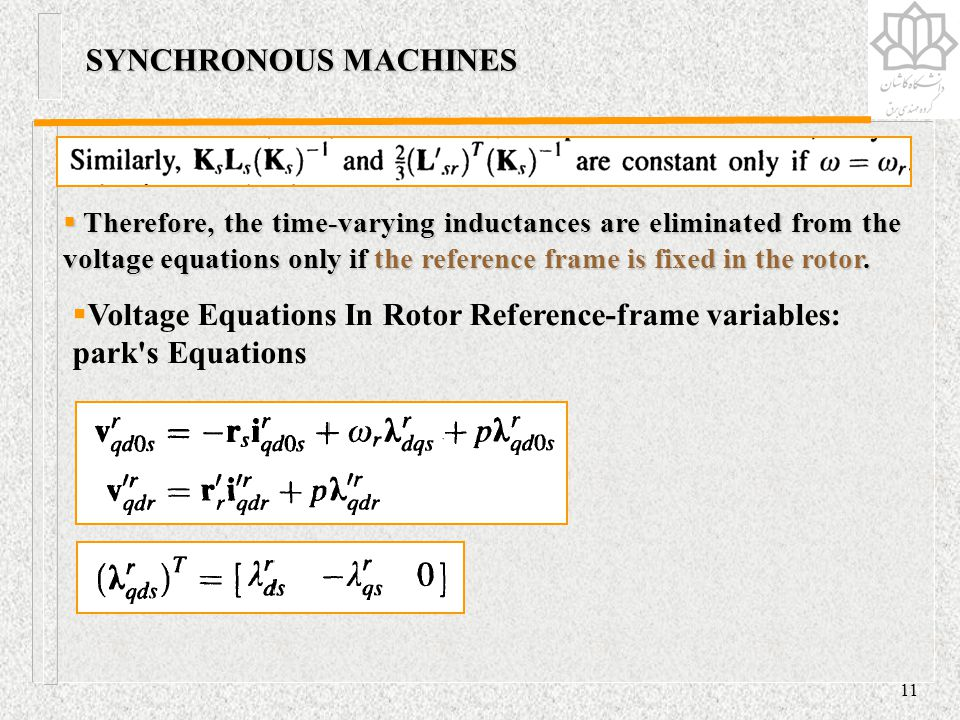 Voltage Equations In Rotor Reference-frame variables: park s Equations