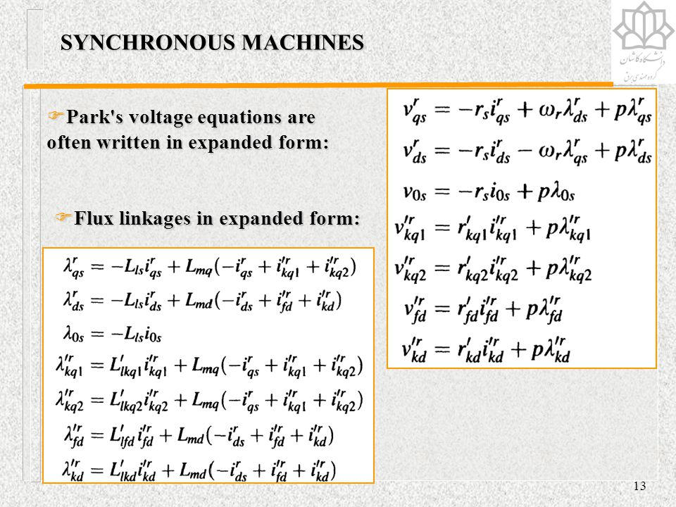 SYNCHRONOUS MACHINES Park s voltage equations are often written in expanded form: Flux linkages in expanded form: