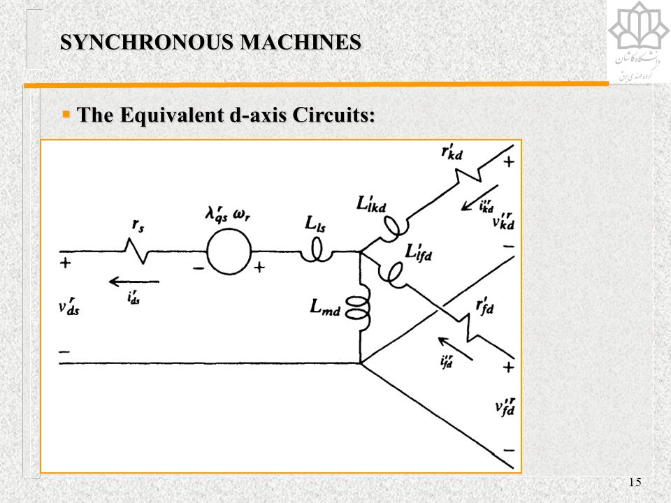SYNCHRONOUS MACHINES The Equivalent d-axis Circuits: