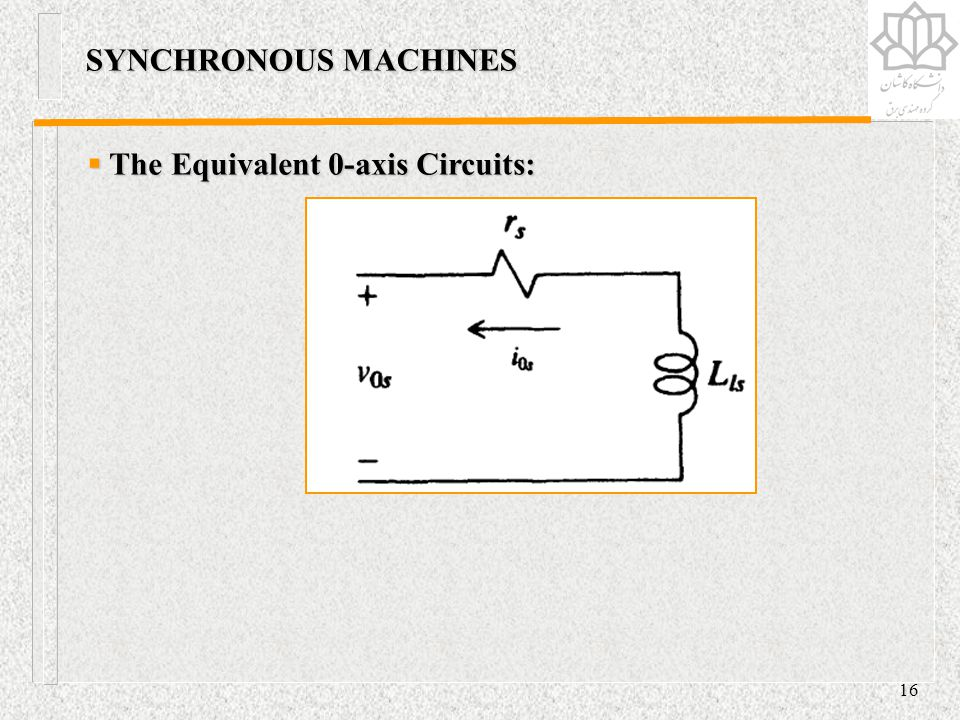 SYNCHRONOUS MACHINES The Equivalent 0-axis Circuits: