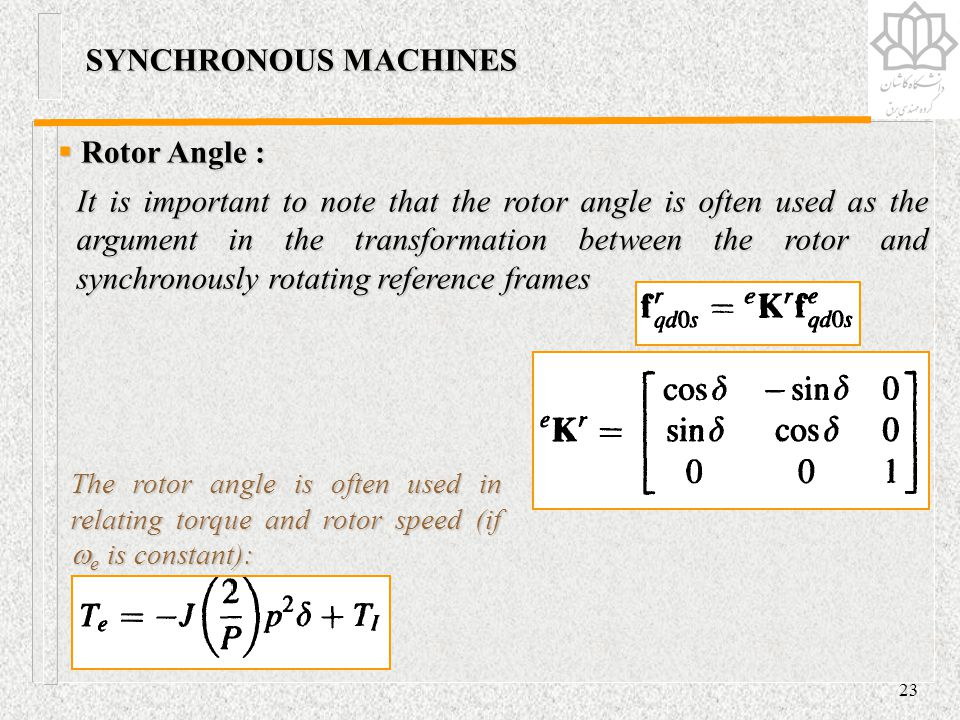 SYNCHRONOUS MACHINES Rotor Angle :