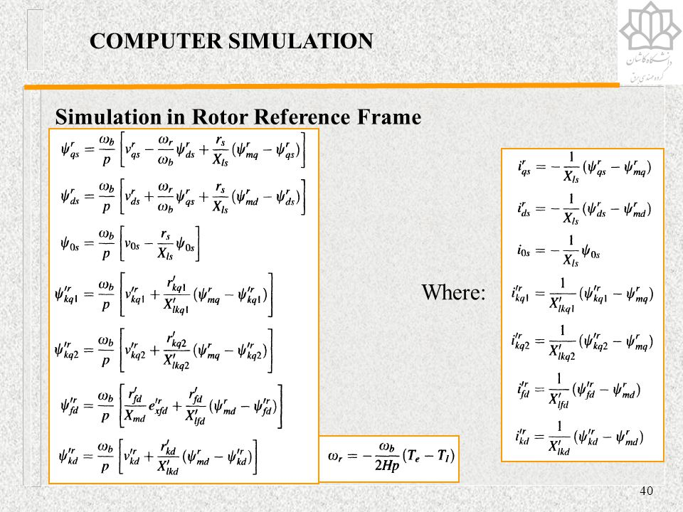 COMPUTER SIMULATION Simulation in Rotor Reference Frame Where: