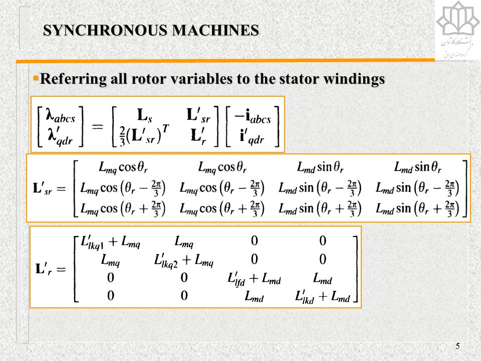 SYNCHRONOUS MACHINES Referring all rotor variables to the stator windings