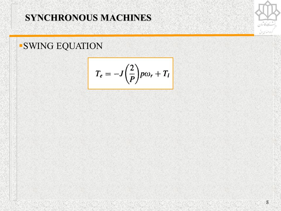SYNCHRONOUS MACHINES SWING EQUATION
