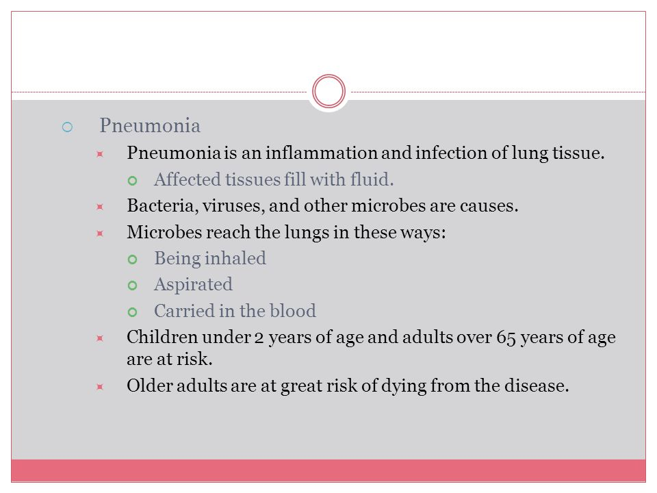 Pneumonia Pneumonia is an inflammation and infection of lung tissue.