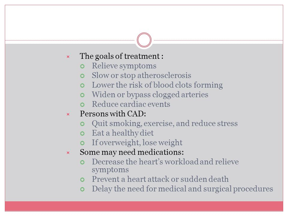 The goals of treatment :