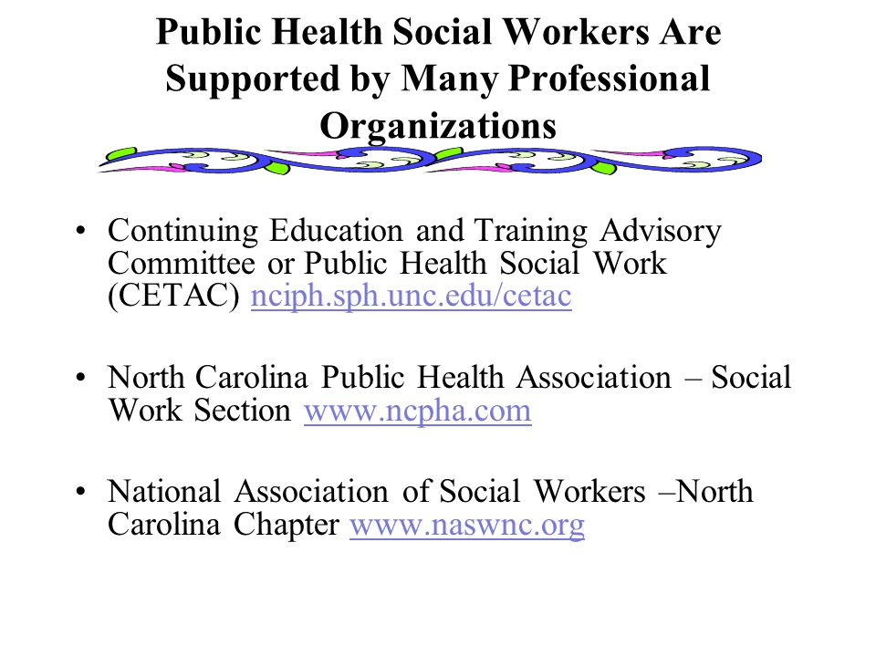 Public Health Social Workers Are Supported by Many Professional Organizations