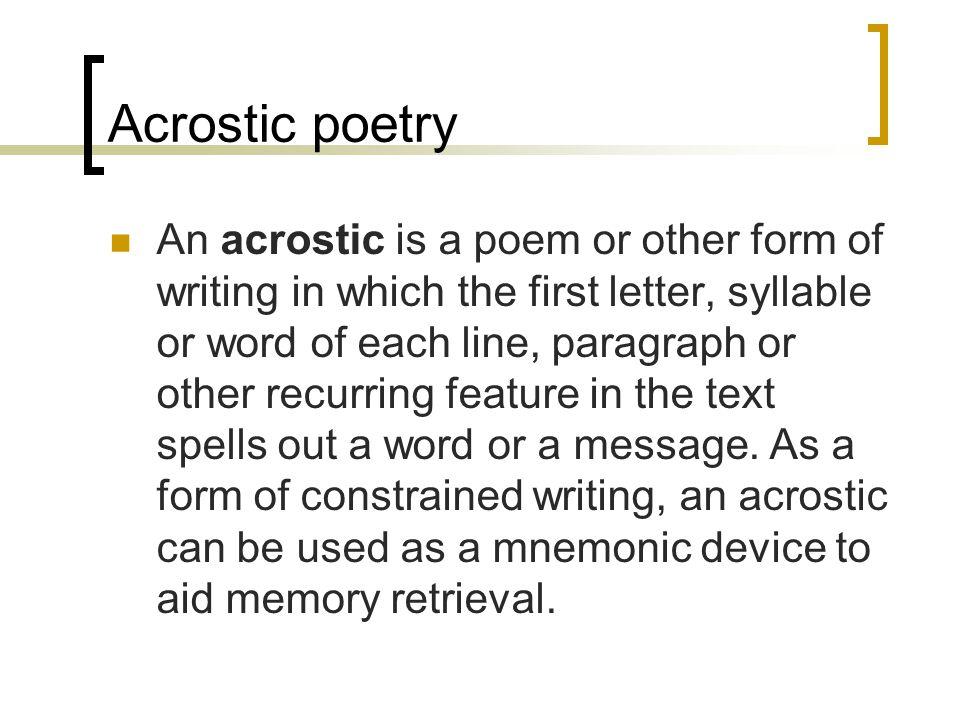 creating an acrostic poem Create an acrostic poem - readwritethink.