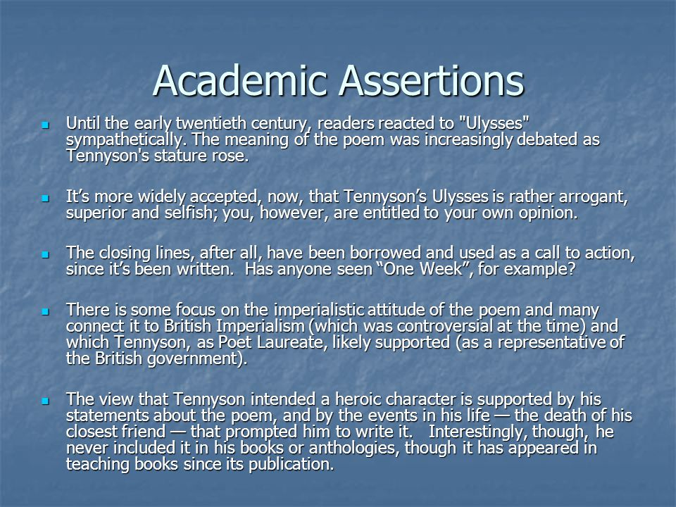 characterization of ulysses in tennysons poem ulysses Here you will find the meaning of famous poem ulysses by alfred lord tennyson.