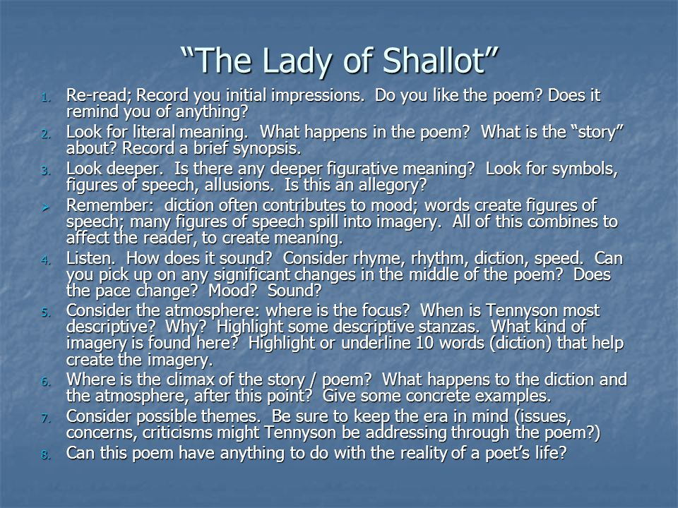 lady of shallot theme and imagery The lady of shalott the poem the lady of shalott is about the lady of shalott who tennyson uses key elements like imagery and style which he uses effectively.