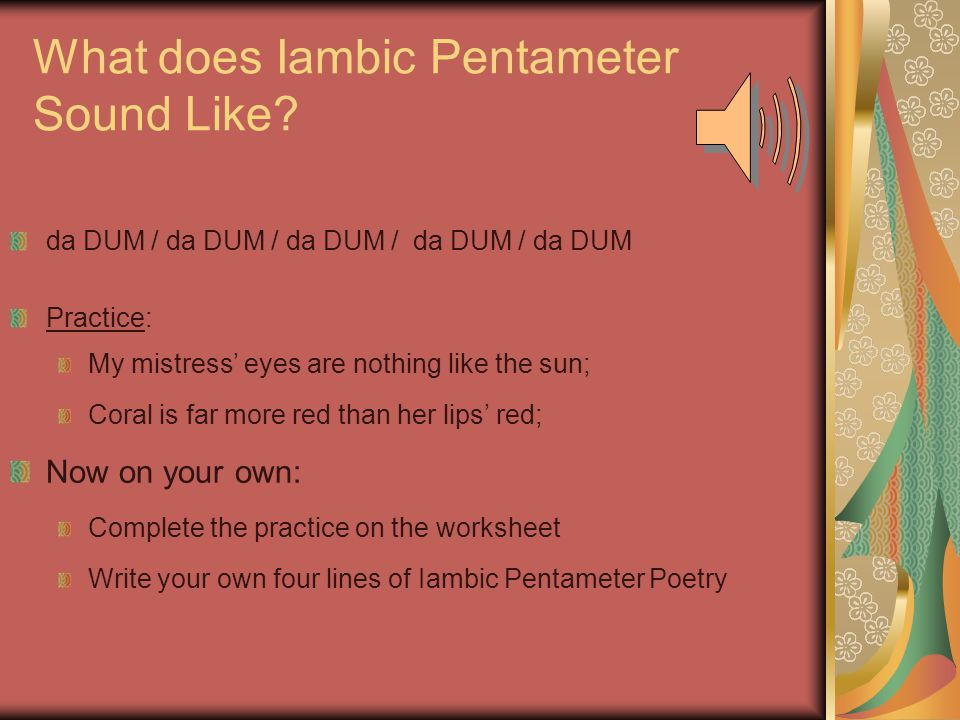 Intro to Poetry Lyric and Narrative ppt download – Iambic Pentameter Worksheet