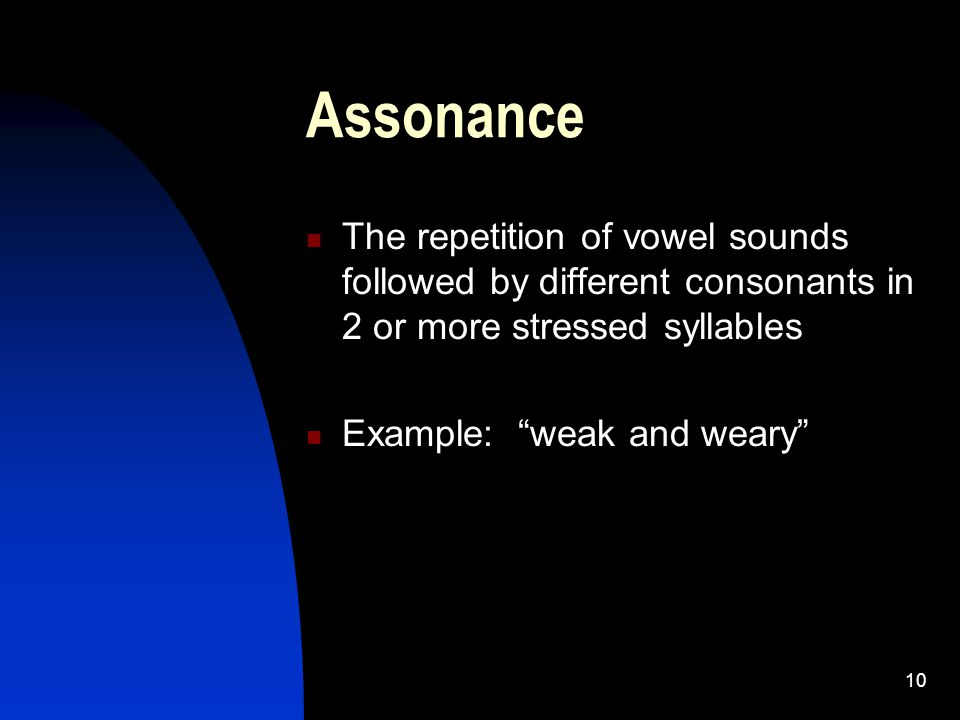 Assonance The repetition of vowel sounds followed by different consonants in 2 or more stressed syllables.