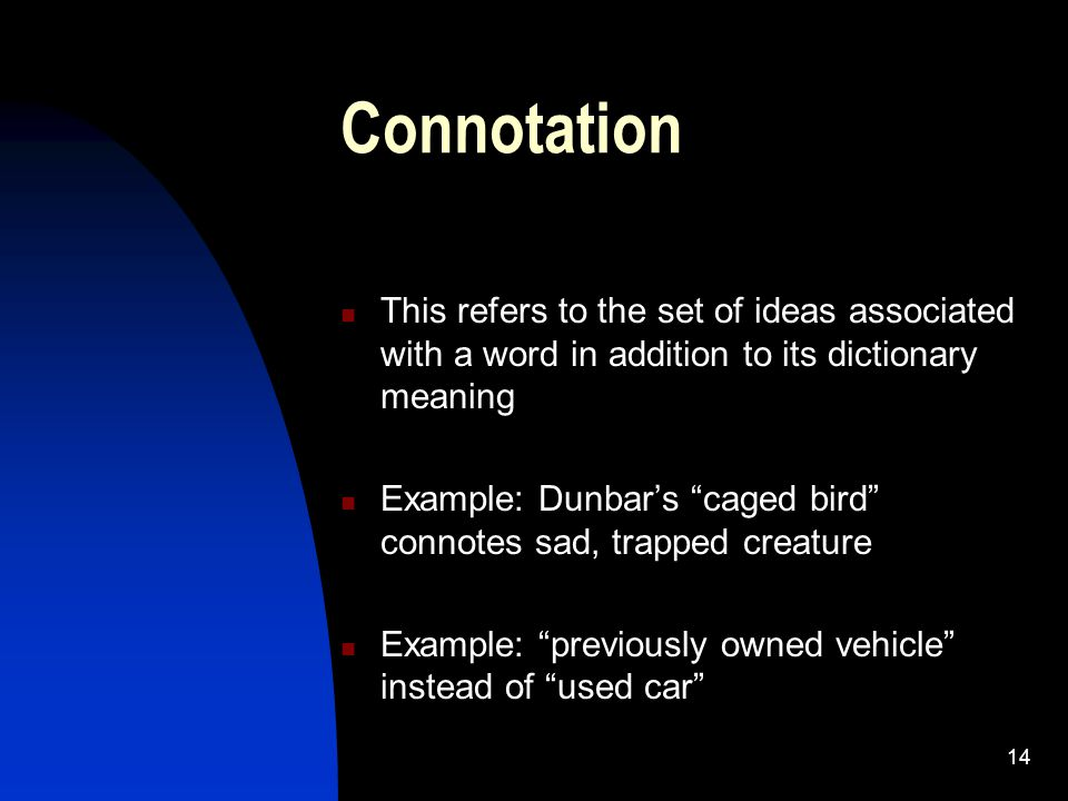 Connotation This refers to the set of ideas associated with a word in addition to its dictionary meaning.