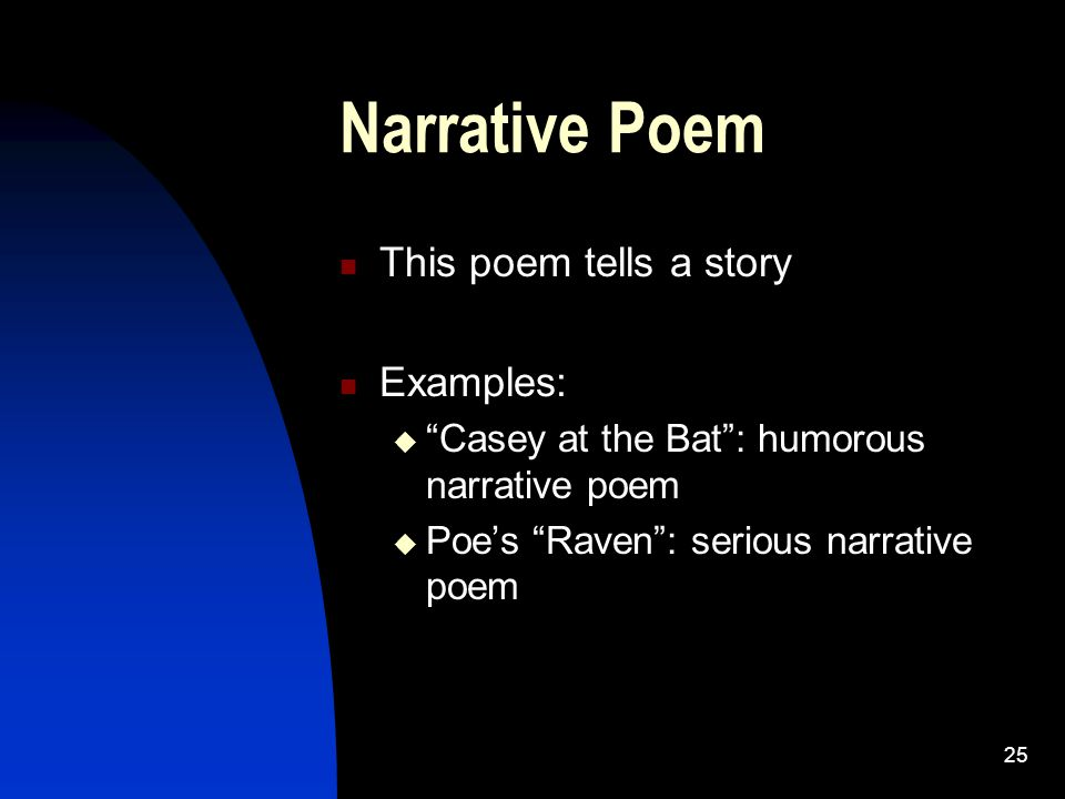 Narrative Poem This poem tells a story Examples: