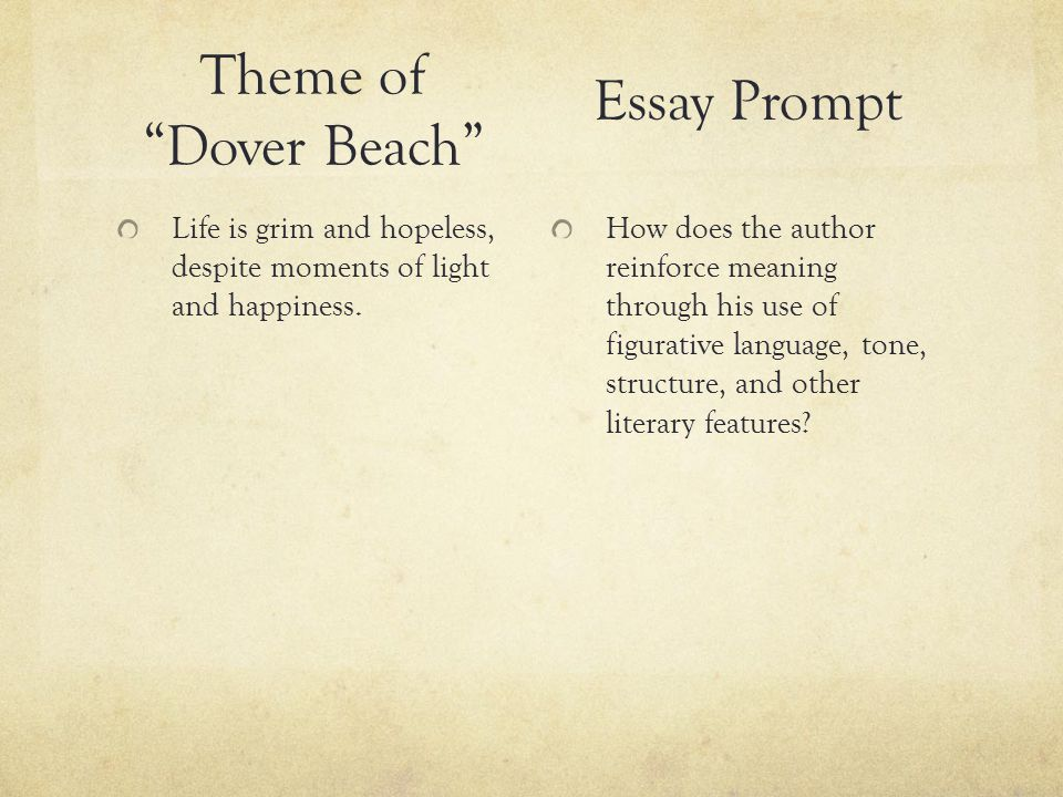 dover beach poetry essay Dover beach by matthew arnold analyzed and just some of my fiction writing | blog writing | creative writing | essay writing | letter write poetry here.