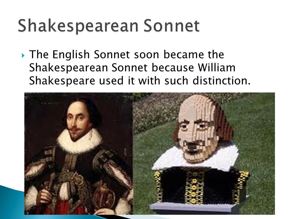 Shakespearean Sonnet The English Sonnet soon became the Shakespearean Sonnet because William Shakespeare used it with such distinction.
