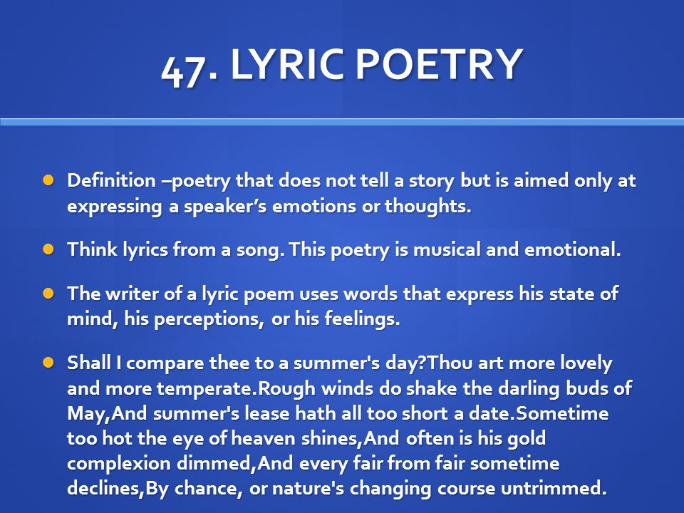 definition of lyric poetry I know, just by titling this piece — what is lyric poetry — you're thinking, no, you're not you're not you're not going to do this yup doing it sort of.