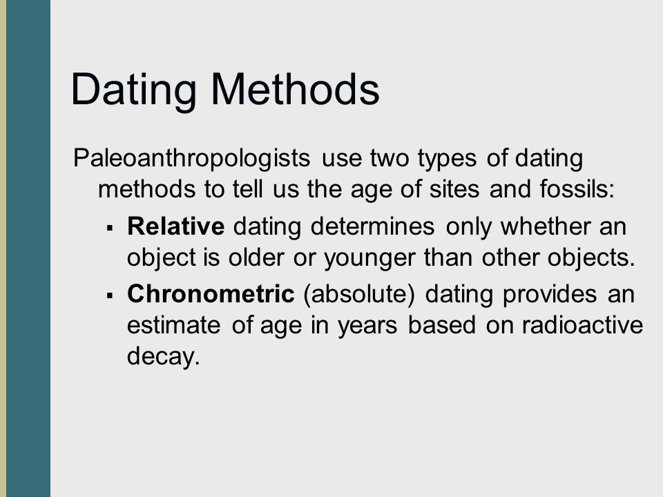 how are different fossil dating methods used Relative dating and radiometric dating are used to determine age of fossils and geologic features, but with different methods relative dating uses observation of.