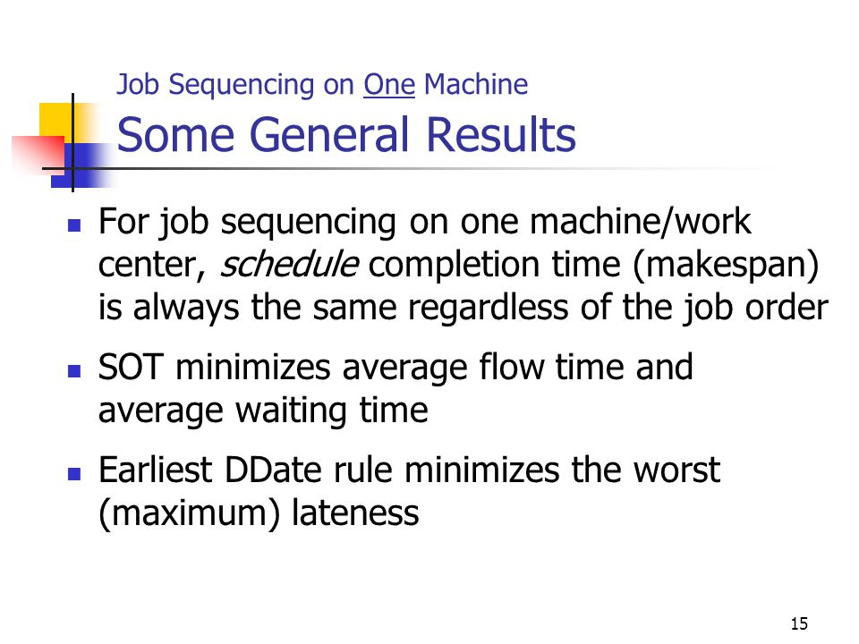 Job Sequencing on One Machine Some General Results