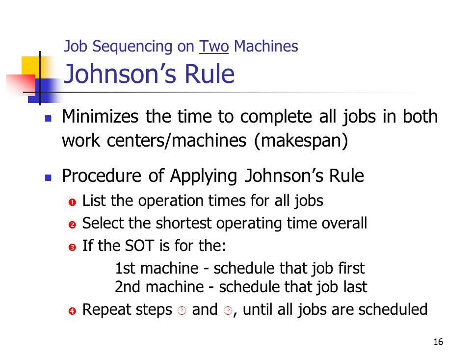 Job Sequencing on Two Machines Johnson's Rule