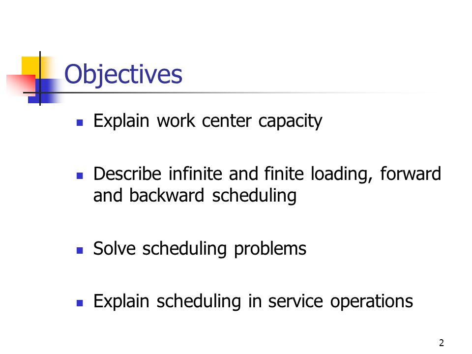 Objectives Explain work center capacity