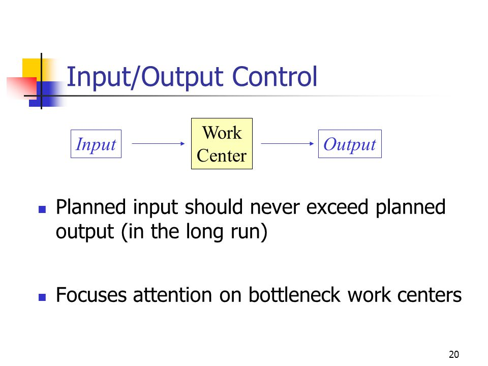 Input/Output Control Work. Center. Input. Output. Planned input should never exceed planned output (in the long run)