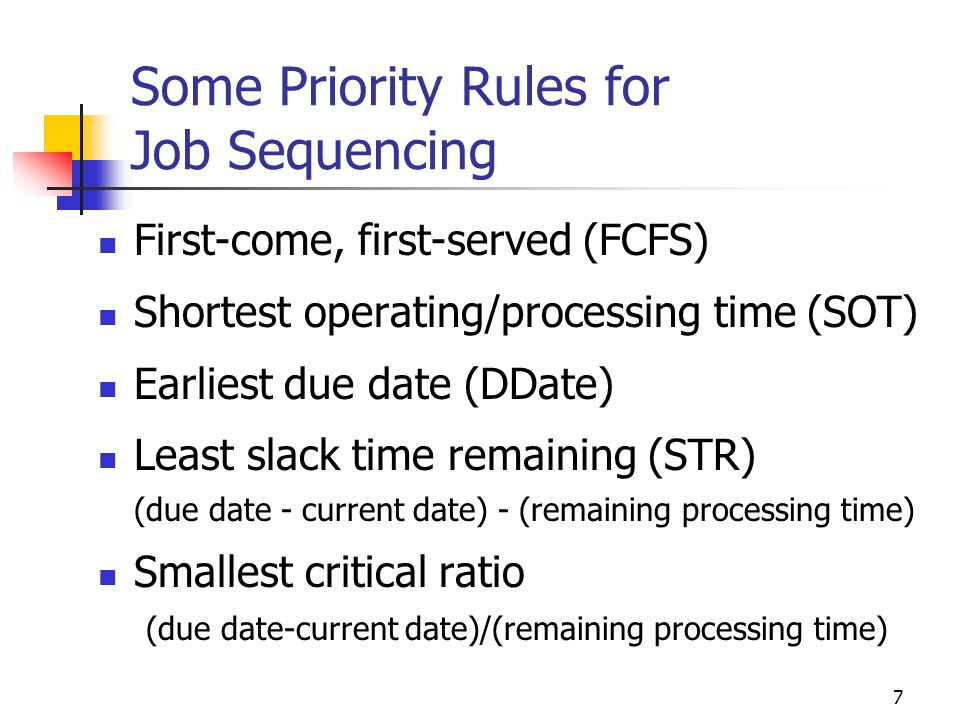 Some Priority Rules for Job Sequencing