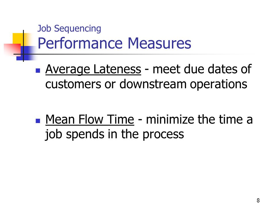 Job Sequencing Performance Measures
