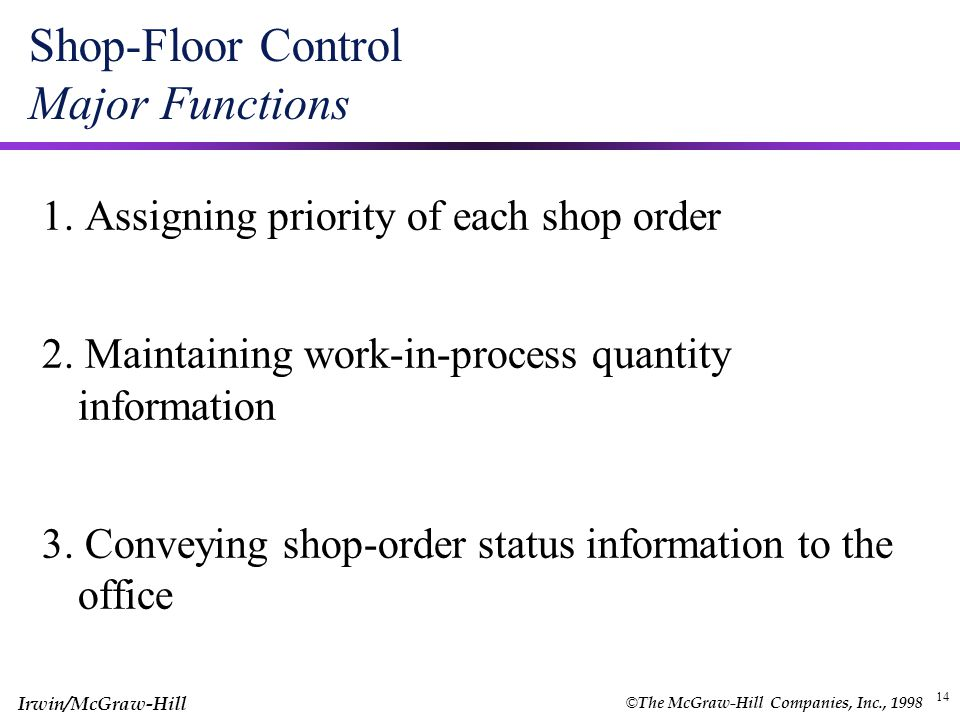 Shop-Floor Control Major Functions