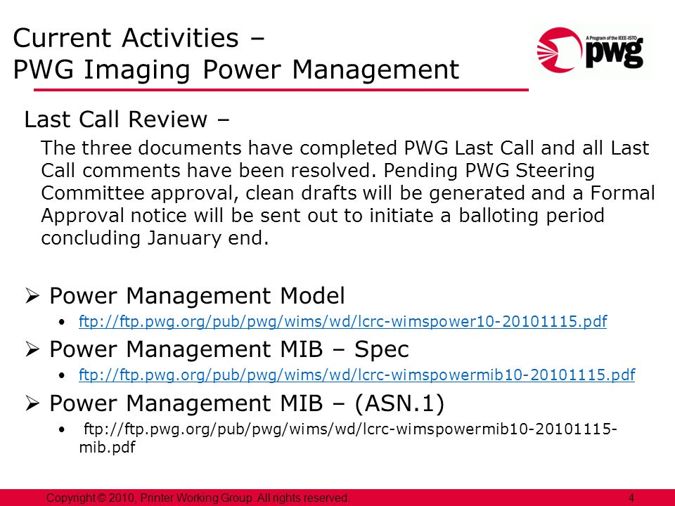 Current Activities – PWG Imaging Power Management