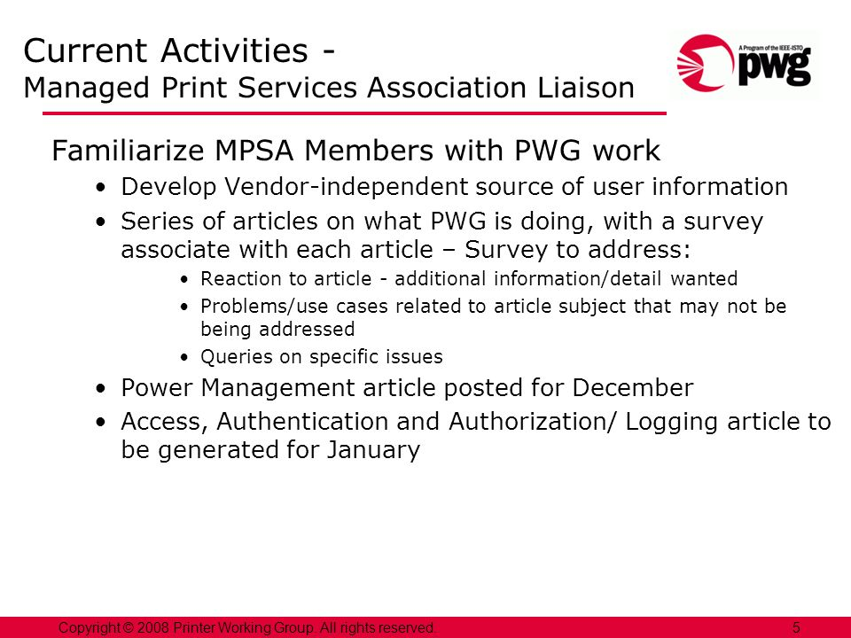 Current Activities - Managed Print Services Association Liaison