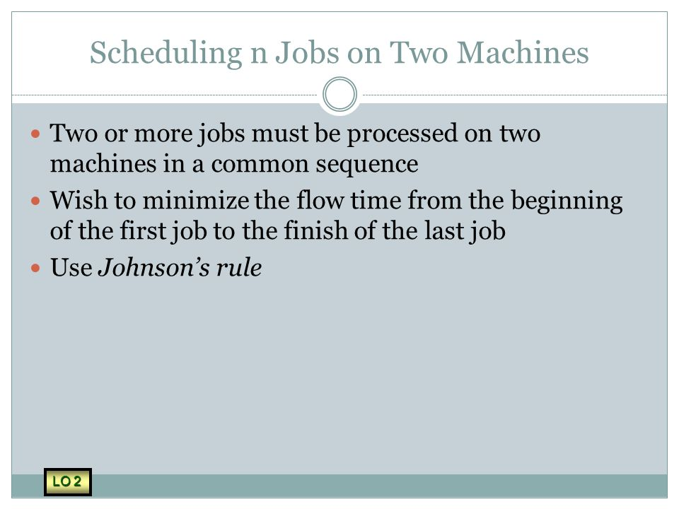 Scheduling n Jobs on Two Machines