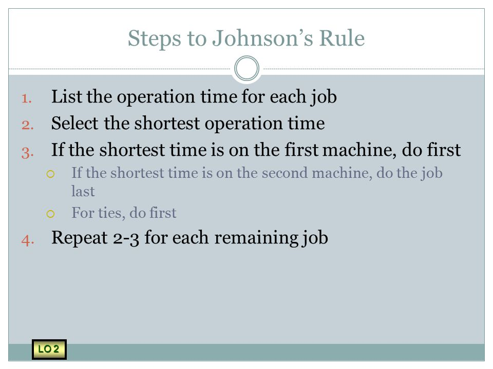 Steps to Johnson's Rule