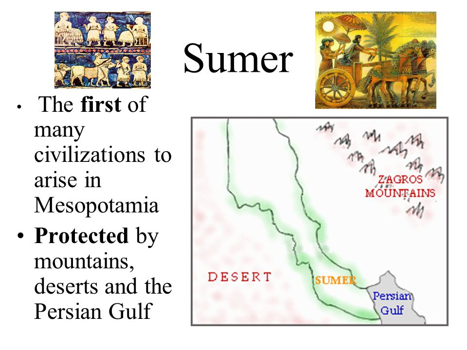 Sumer Protected by mountains, deserts and the Persian Gulf