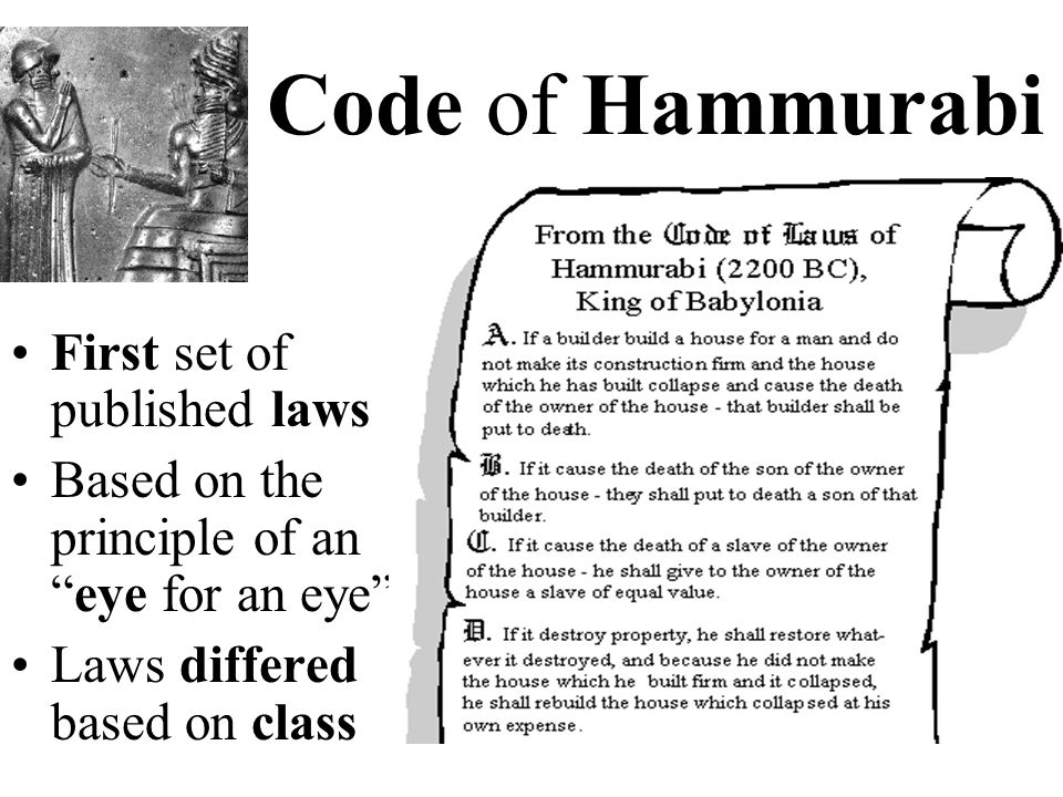 Code of Hammurabi First set of published laws