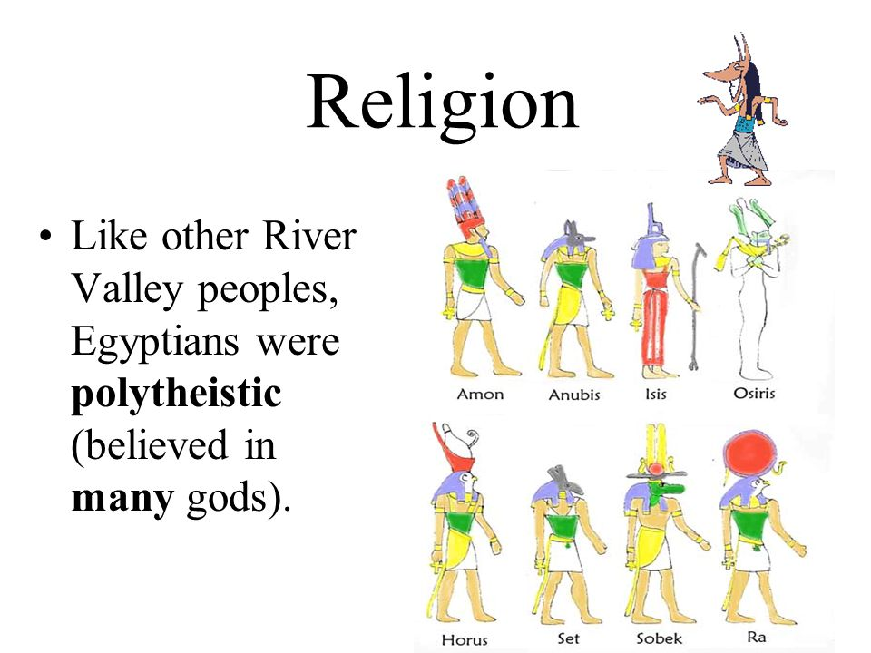 Religion Like other River Valley peoples, Egyptians were polytheistic (believed in many gods).