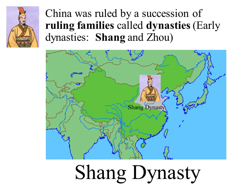China was ruled by a succession of ruling families called dynasties (Early dynasties: Shang and Zhou)