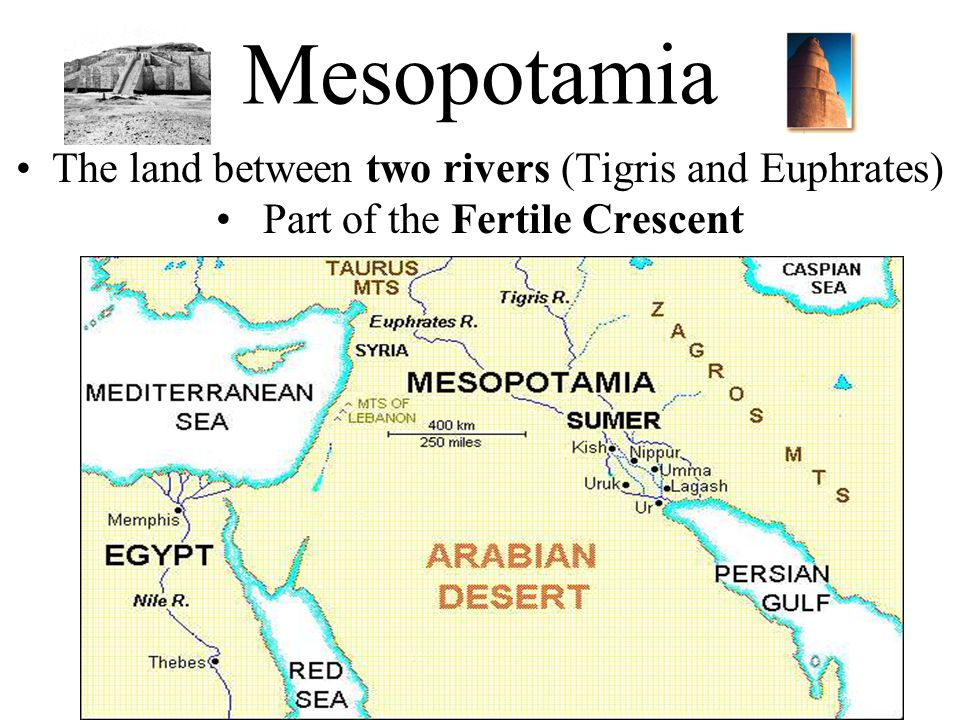 Mesopotamia The land between two rivers (Tigris and Euphrates)