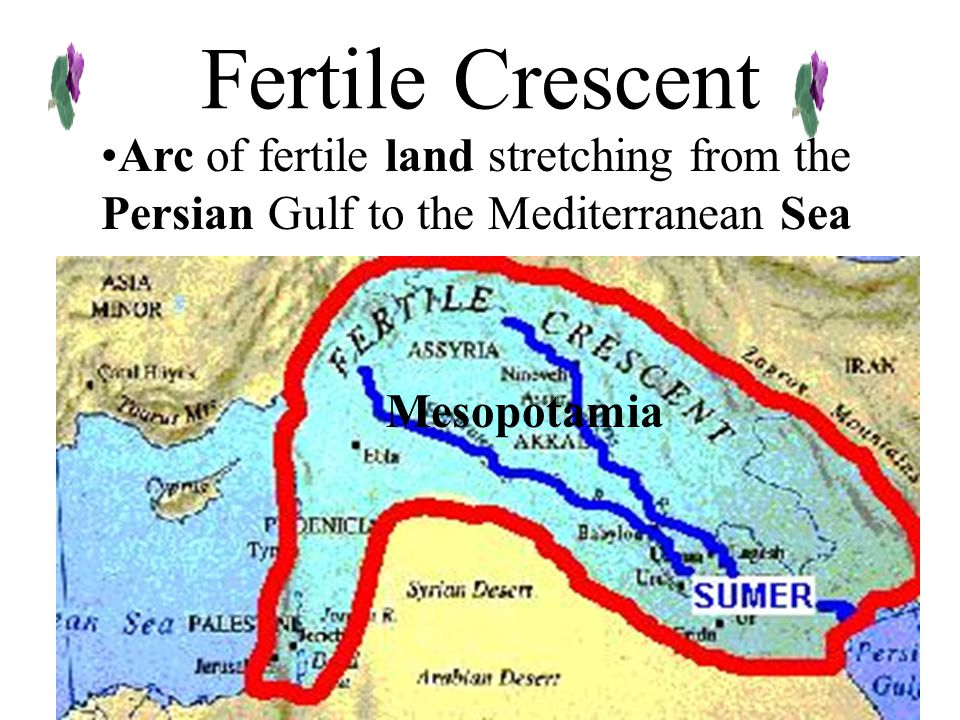 Fertile Crescent Arc of fertile land stretching from the Persian Gulf to the Mediterranean Sea.