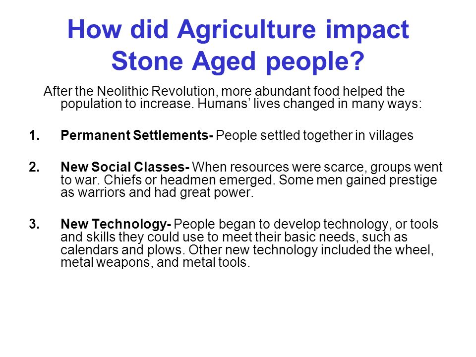 How did Agriculture impact Stone Aged people