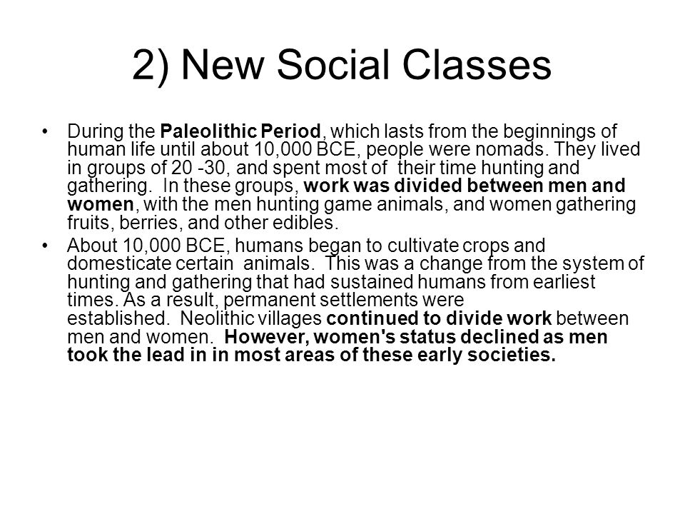 2) New Social Classes