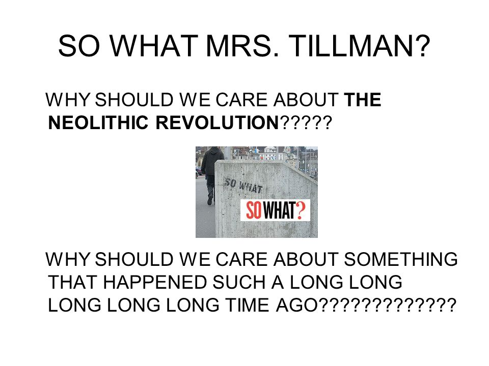 SO WHAT MRS. TILLMAN WHY SHOULD WE CARE ABOUT THE NEOLITHIC REVOLUTION