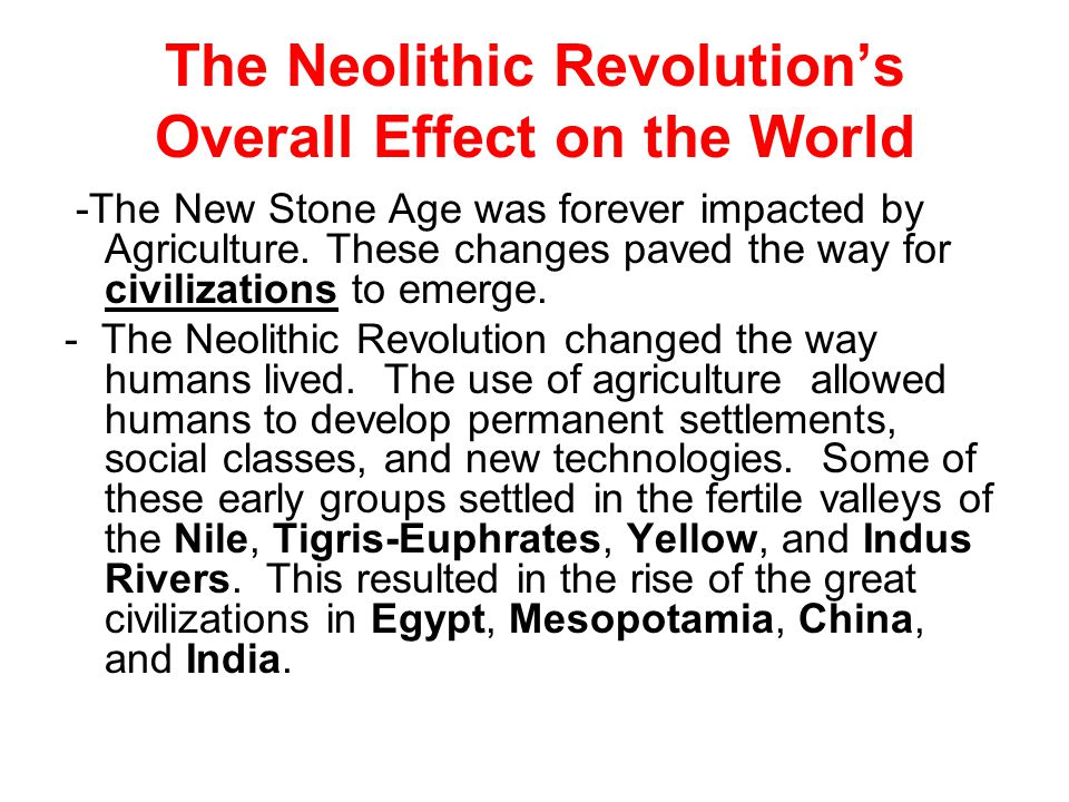 The Neolithic Revolution's Overall Effect on the World