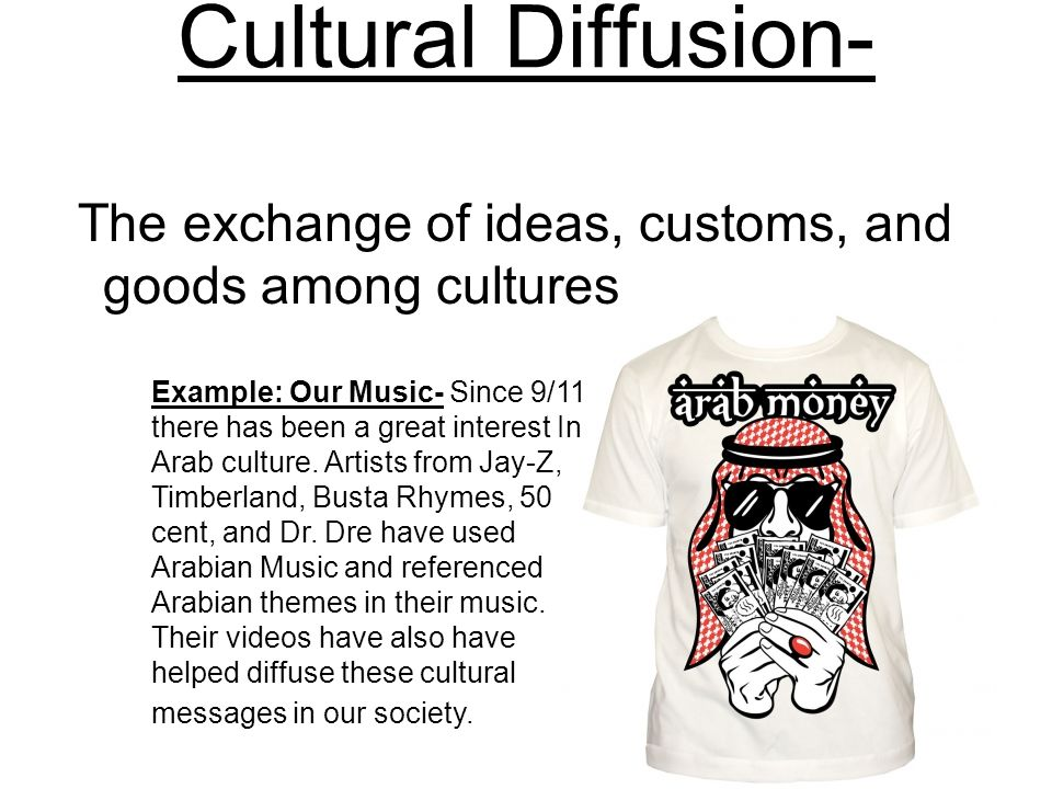 Cultural Diffusion- The exchange of ideas, customs, and goods among cultures.