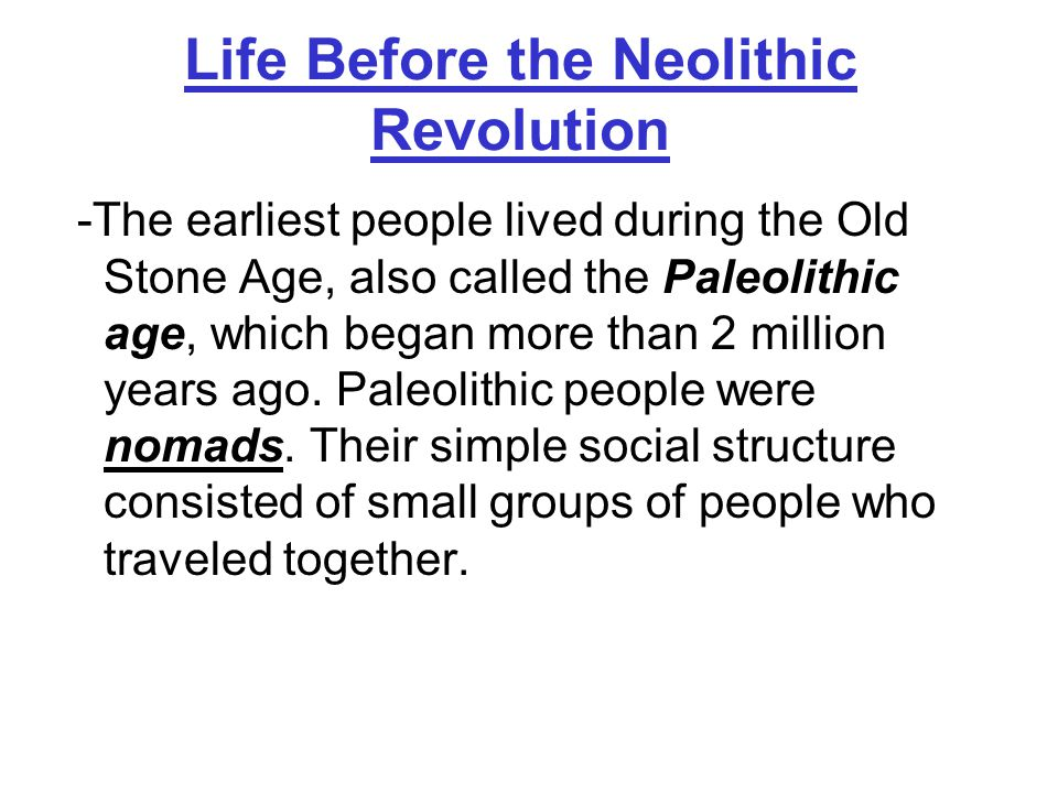 Life Before the Neolithic Revolution