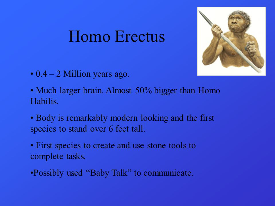 Homo Erectus 0.4 – 2 Million years ago.