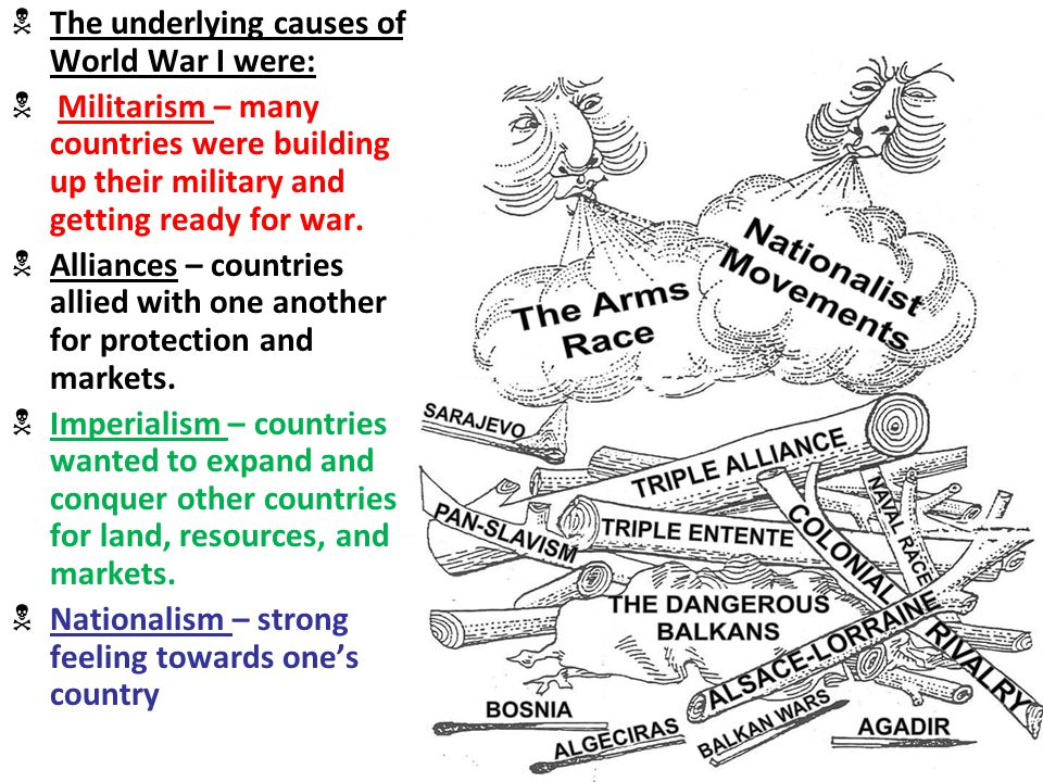 the main underlying causes of the for world war i in europe When examining the causes of world war i each major nation drafted a detailed war strategy and balance of world power away from europe.