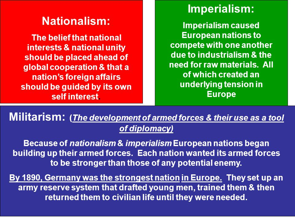 nationalism militarism imperialism and the system of alliances factors that caused the world war i D5 what causes imperialism  after the second world war, imperialism changed under the pressure of various national  if militarism leads to actual war,.