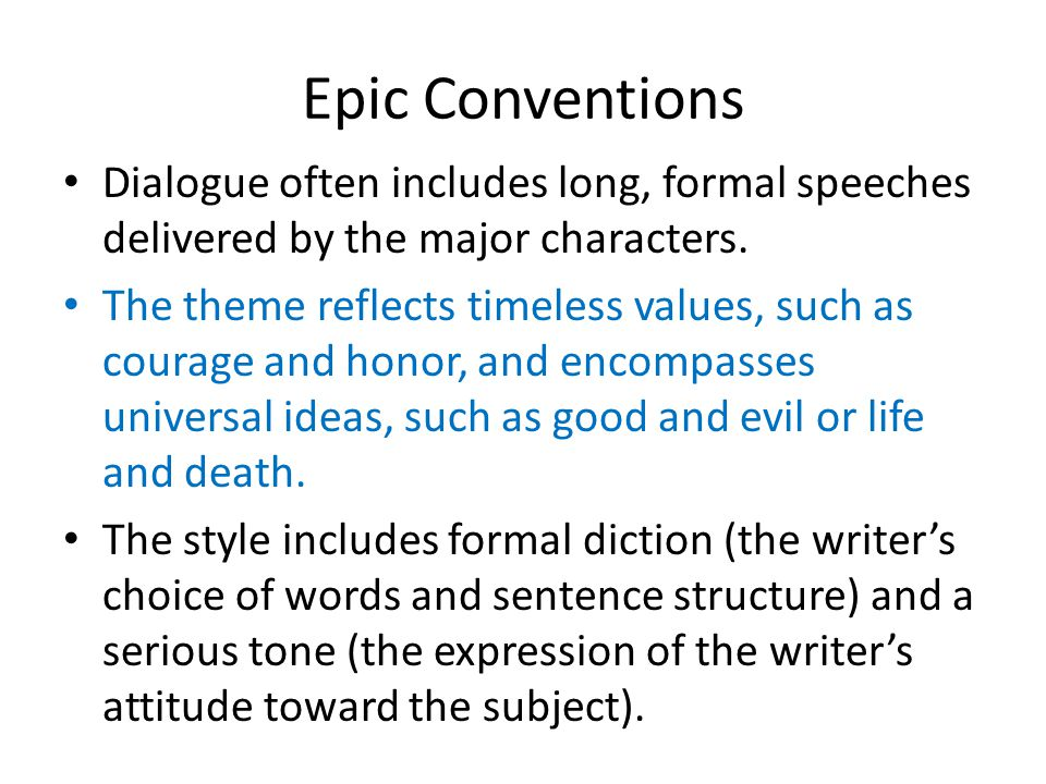 epic conventions In this lesson on the indian epic the ramayana, students read an abridged version, and explore the ways in which the story of rama contains elements, such as the epic hero cycle, that place it within the epic poetry tradition.