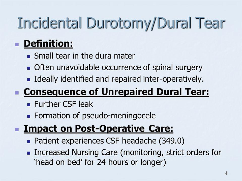 Incidental Durotomy Dural Tear Ppt Video Online Download